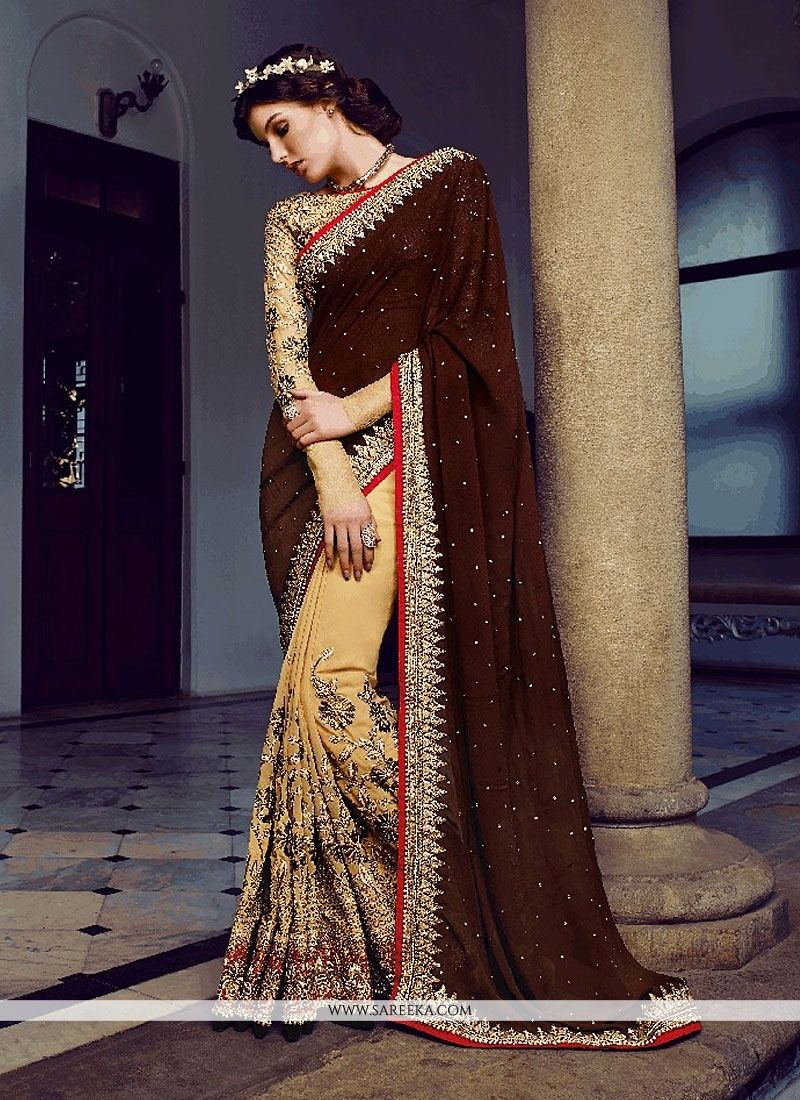Brown And Cream Bamber Designer Saree
