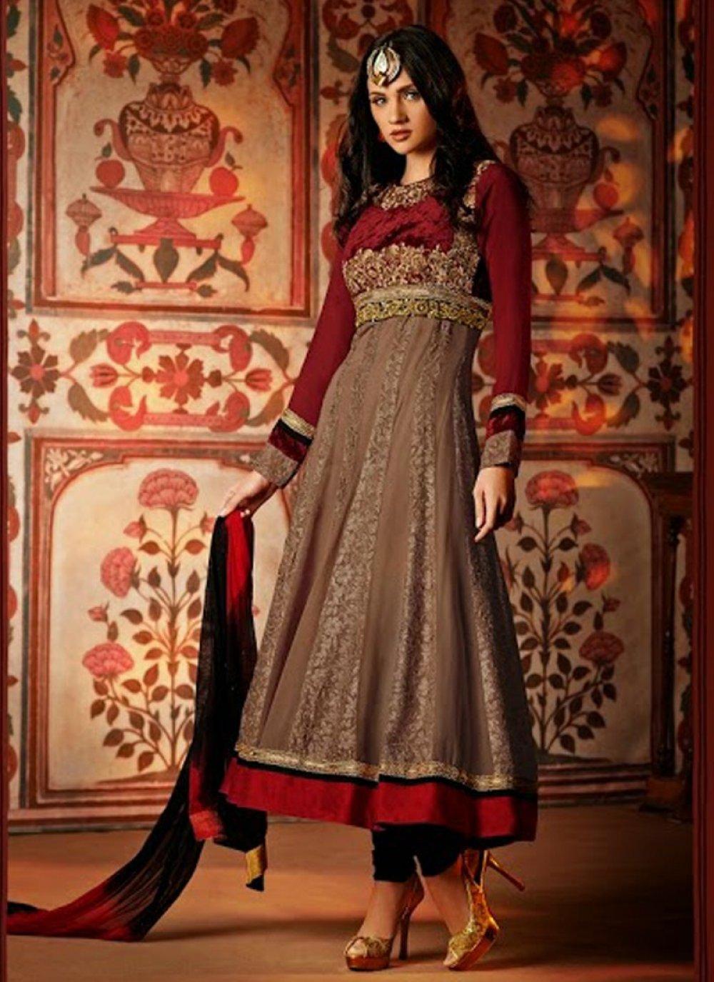 Brown And Maroon Embroidery Work Velvet Anarkali Suit