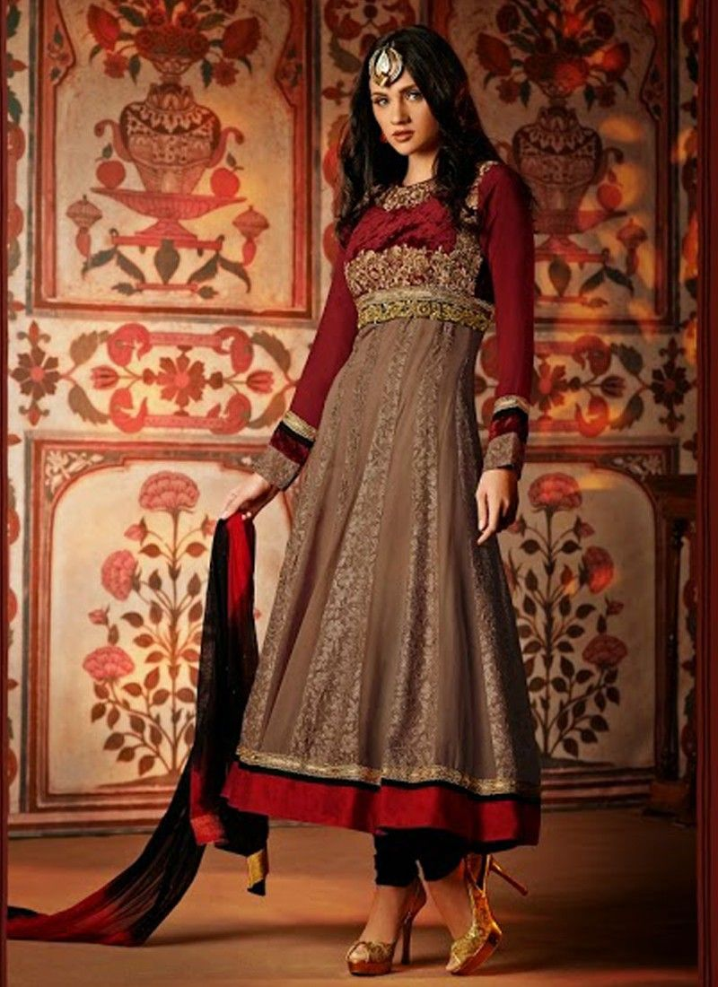 Brown And Maroon Embroidery Work Velvet Anarkali Suit