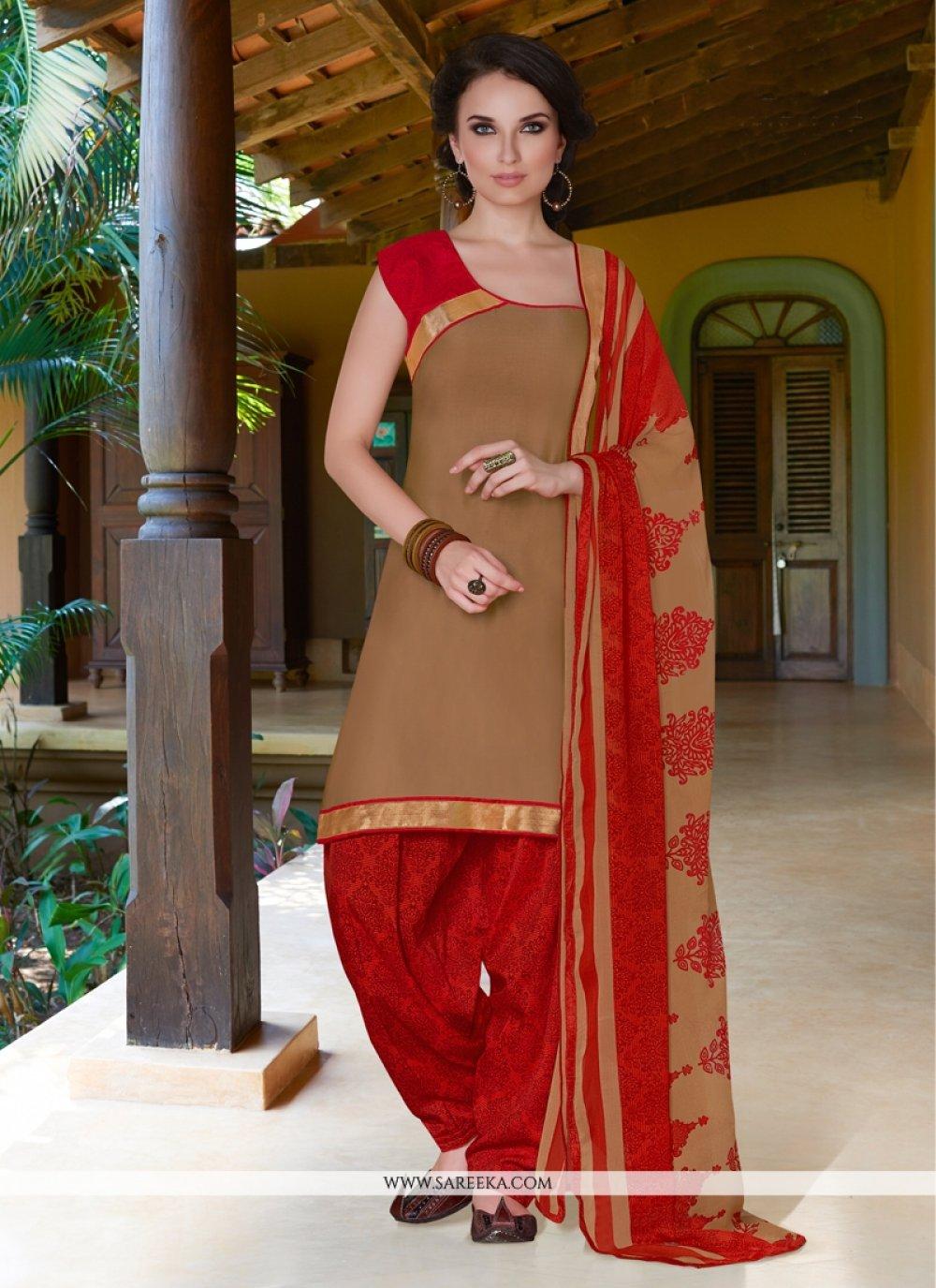Brown Cotton Satin Punjabi Suit