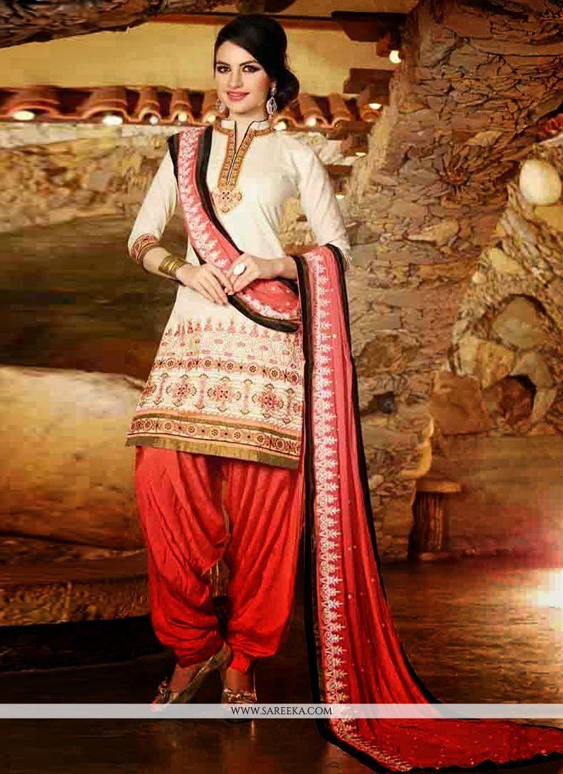 Cream Cotton Punjabi Suit