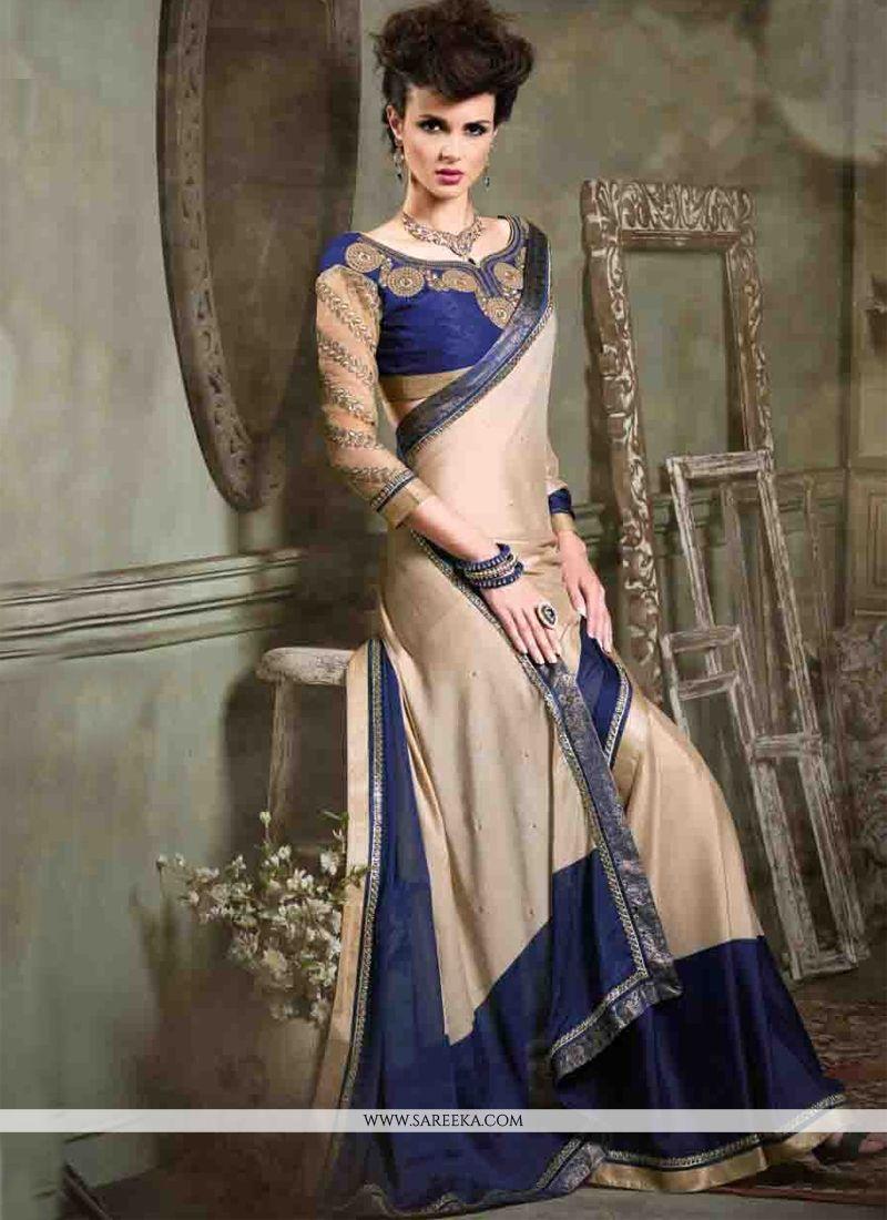 Cream Designer Saree