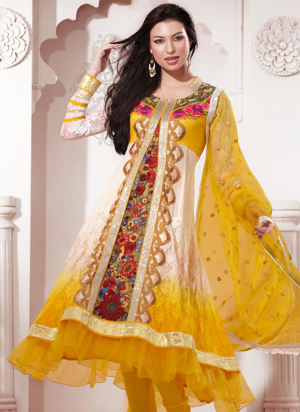 Cream Georgette Pakistani Suit