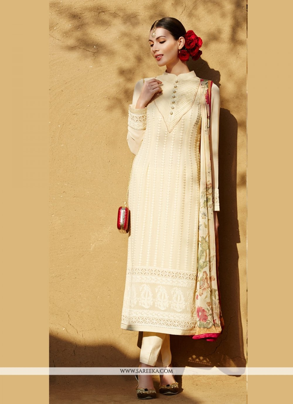 Cream Pure Georgette Pant Style Suit