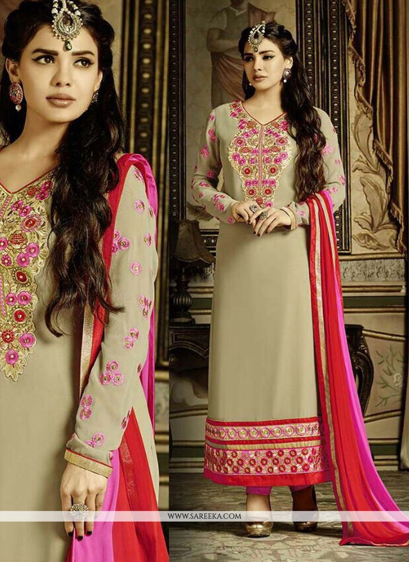 Embroidered Work Beige Georgette Churidar Salwar Suit