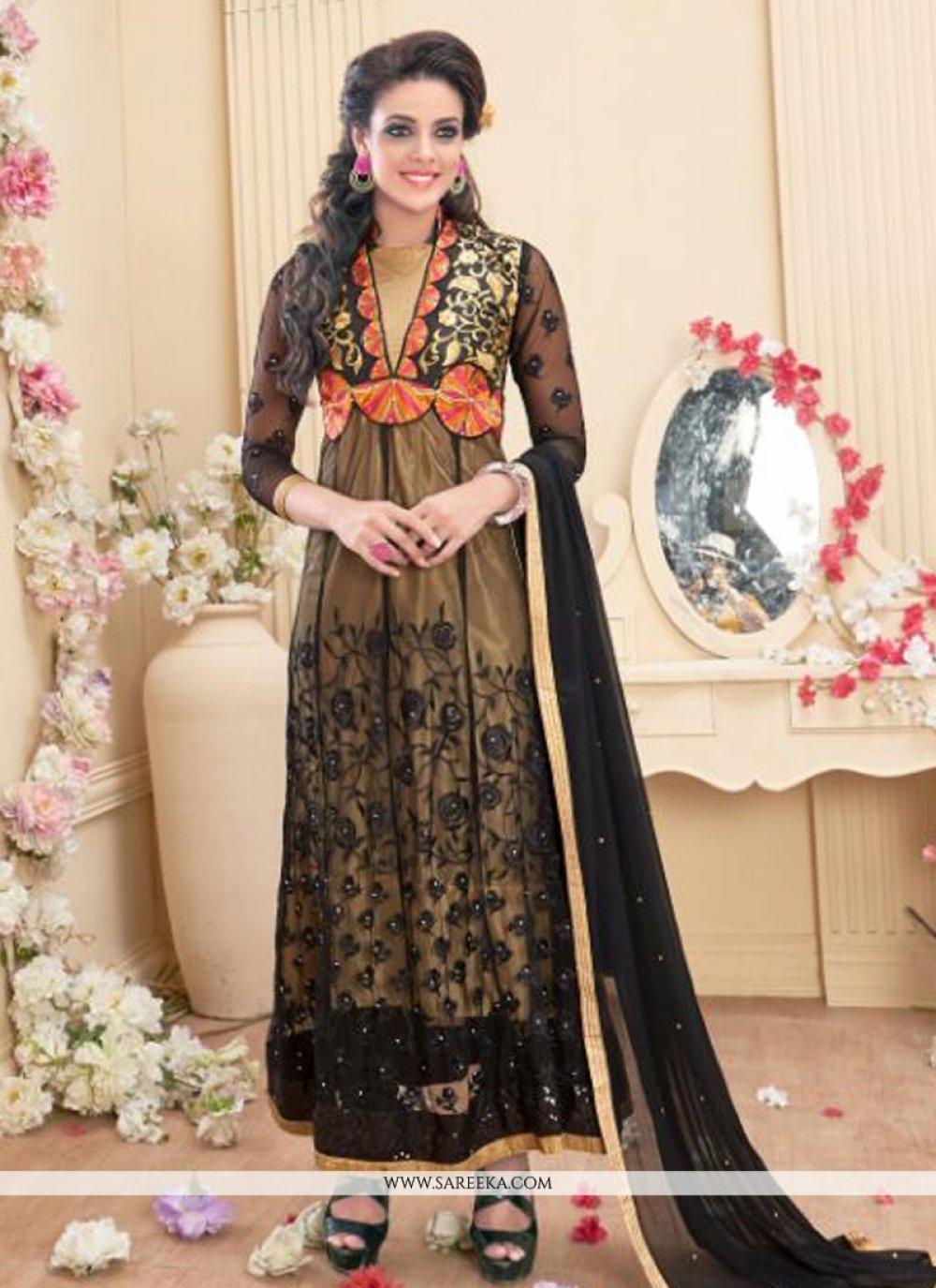 Georgette Black Anarkali Salwar Kameez