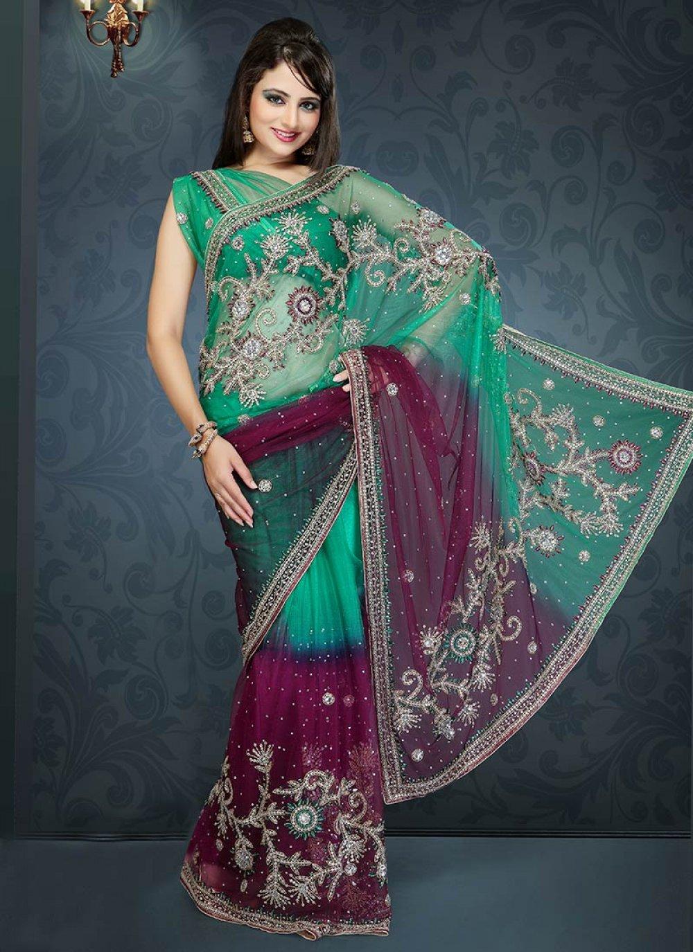 Green And Wine Net Saree