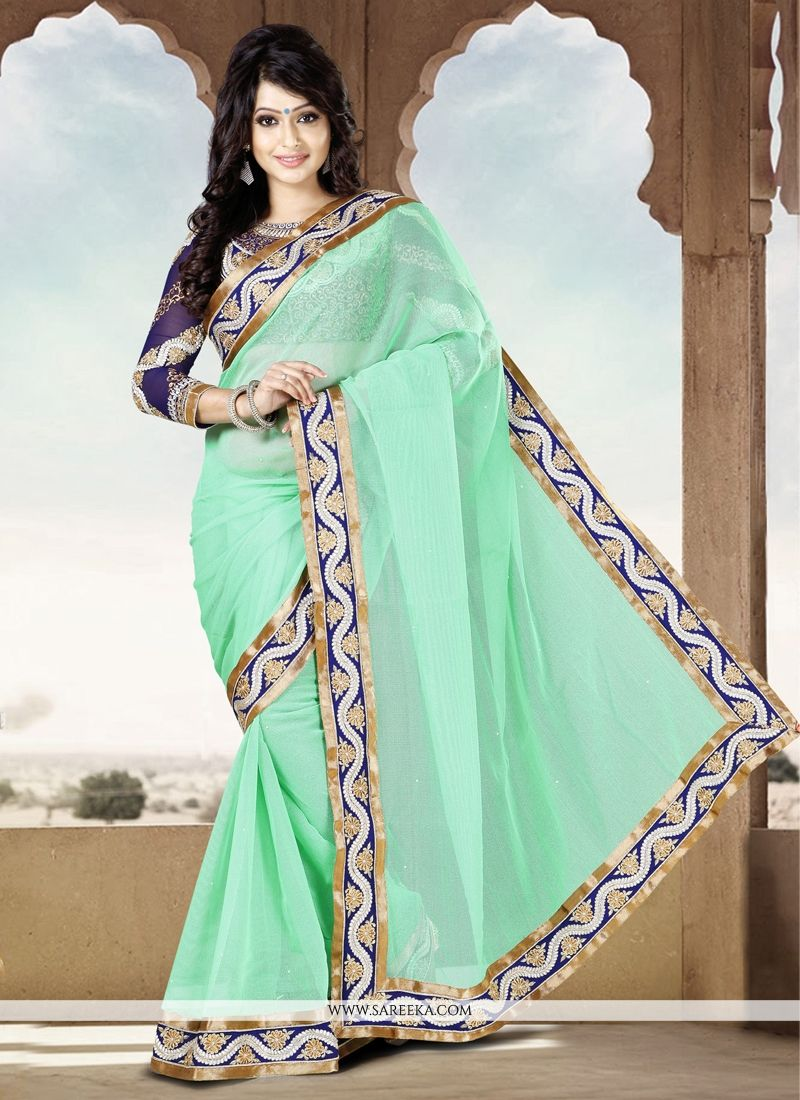 Green Cotton Party Wear Saree
