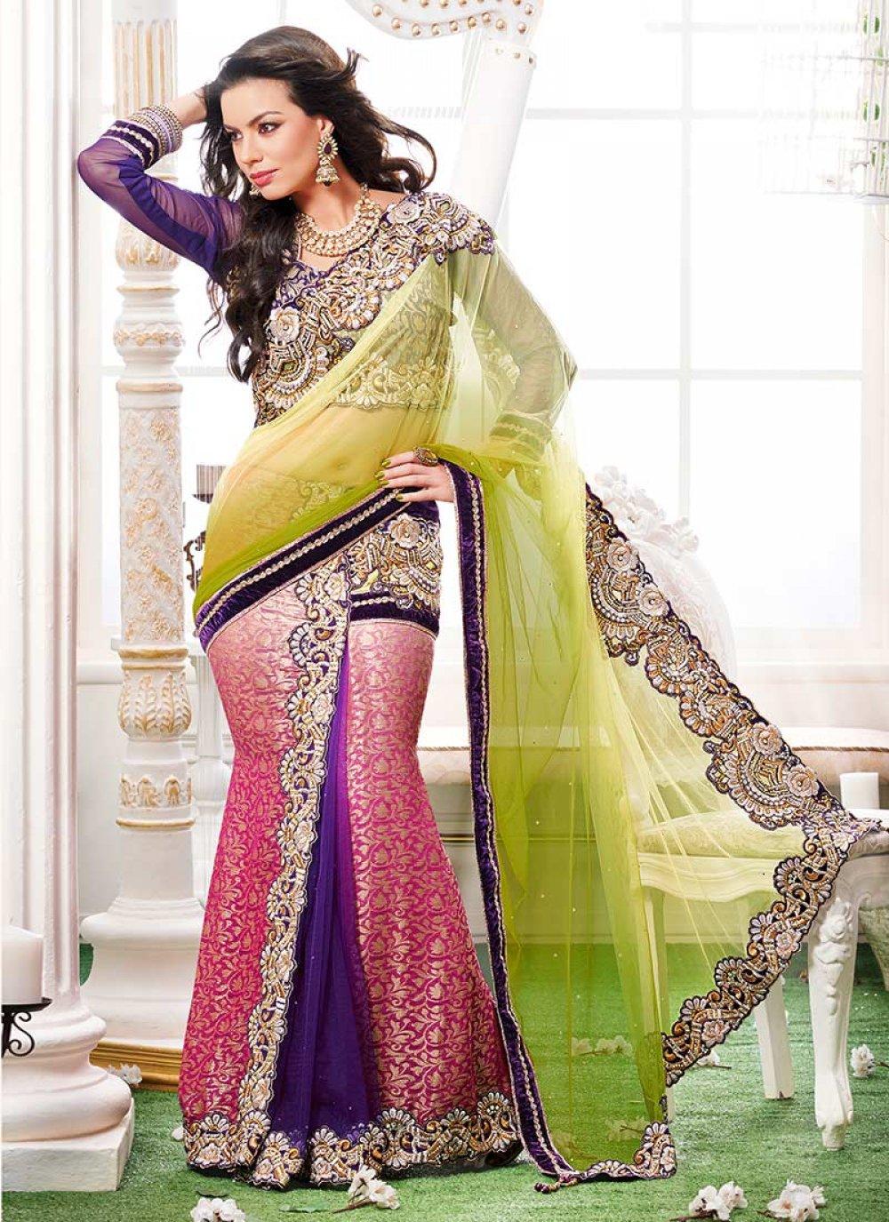 Green Jacquard Ready Pleated Saree