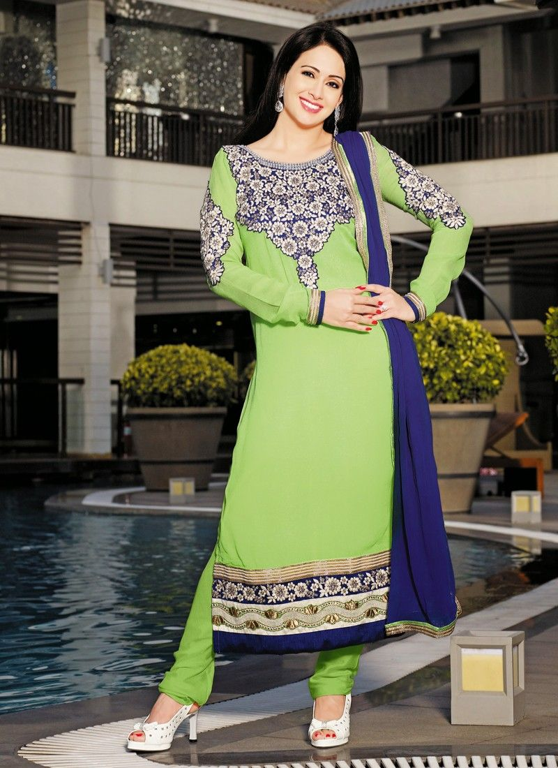 Green Patch Border Work Churidar Salwar Suit