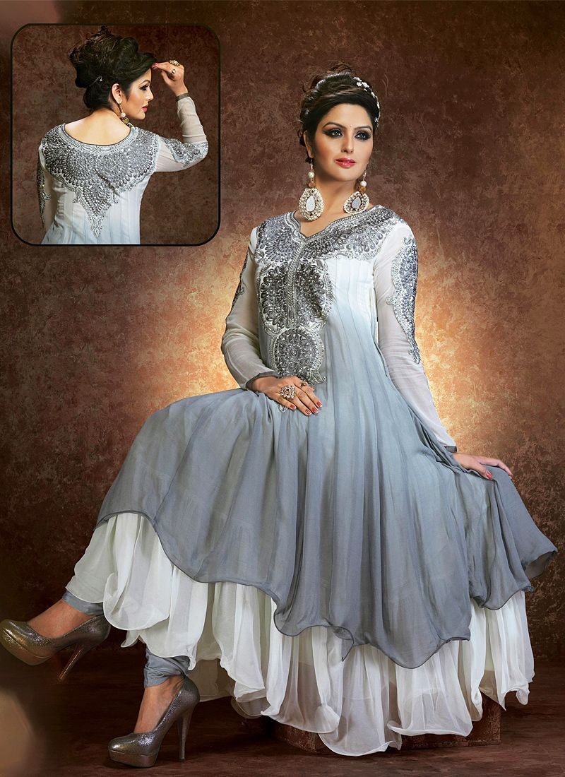 Grey Embroidery Work Anarkali Salwar Suit