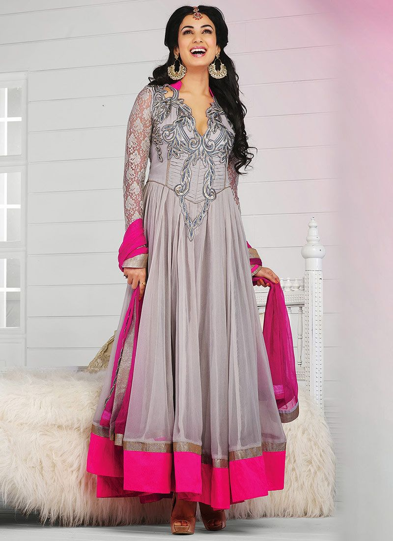Grey Resham Work Designer Anarkali Suit