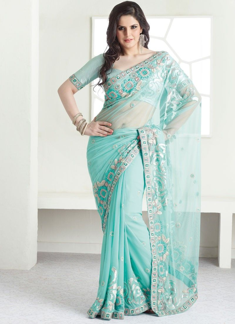 Light Blue Net Saree