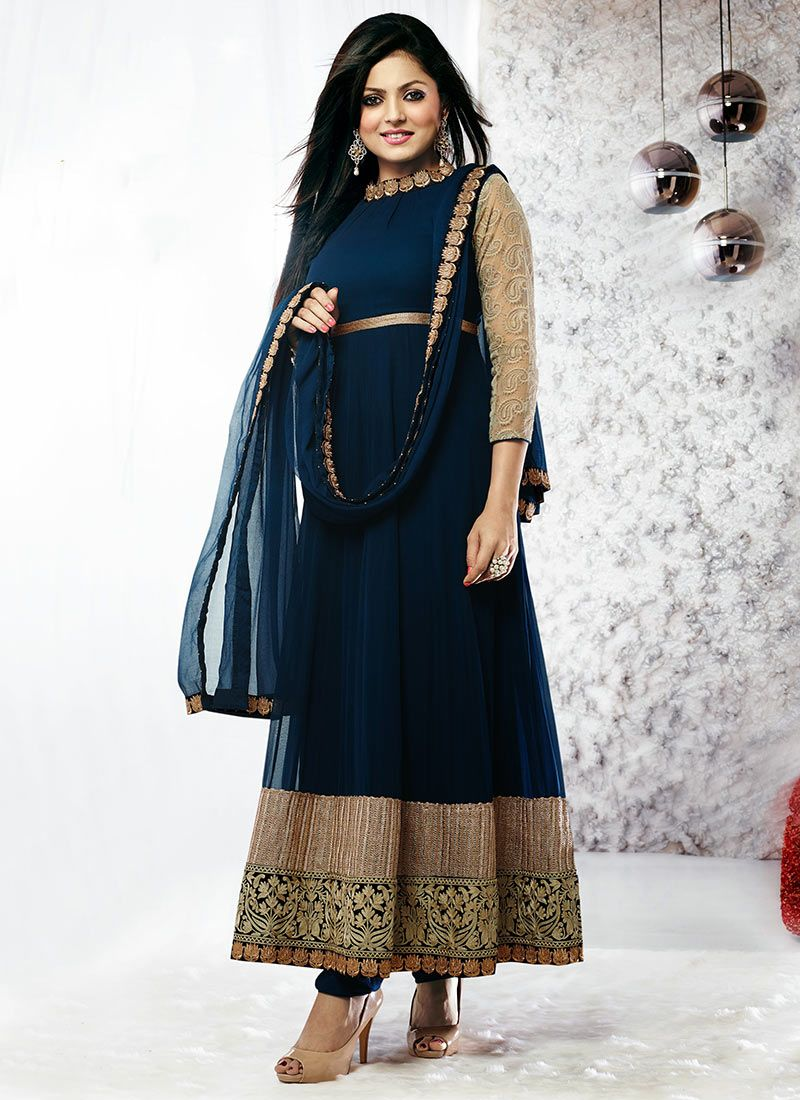 Madhubala Blue Ankle Length Anarkali Suit