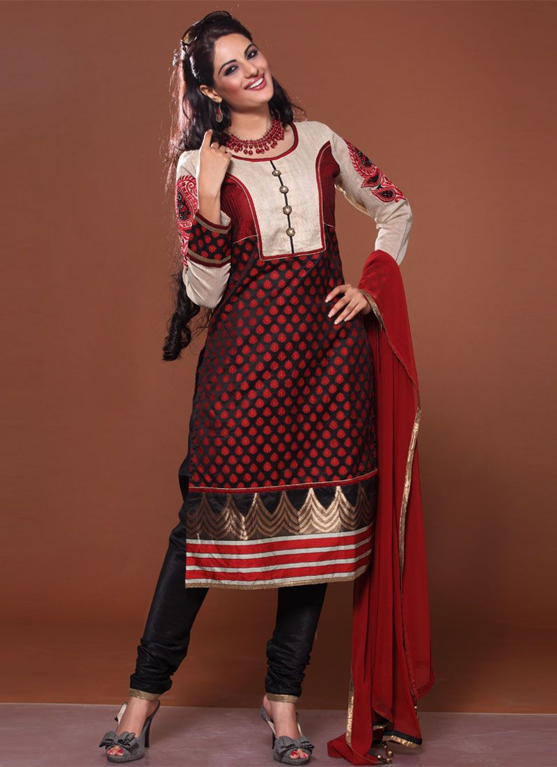 Maroon And Black Patch Border Work Churidar Suit