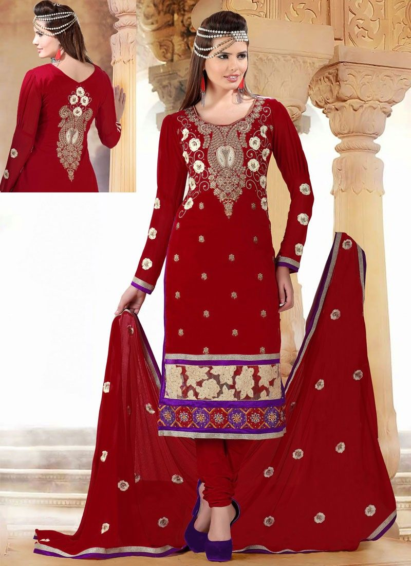 Maroon Cotton Churidar Suit