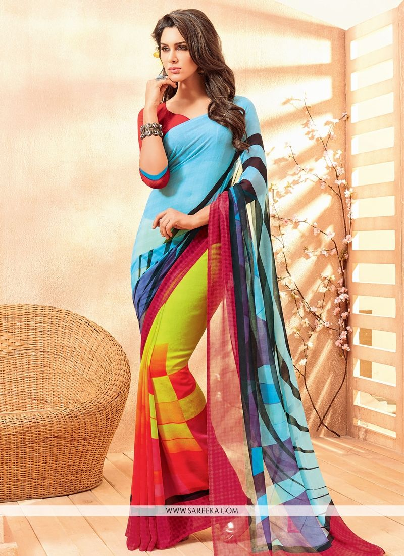 Multi Colour Faux Chiffon Casual Saree