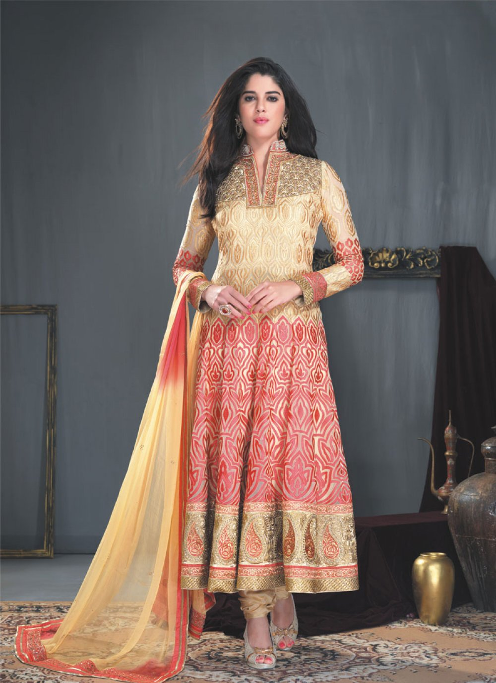 Multicolor Embroidery Work Faux Georgette Anarkali Suit