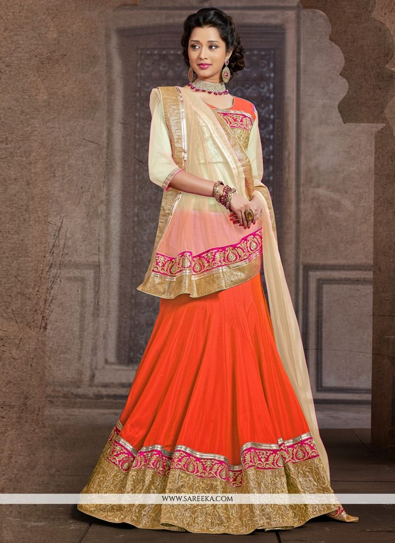 Orange Chiffon And Silk Wedding Lehenga Choli
