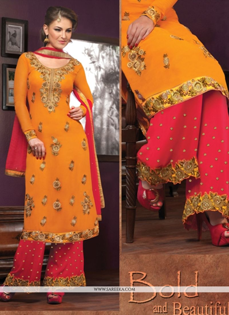 Orange Georgette Palazzo Salwar Suit