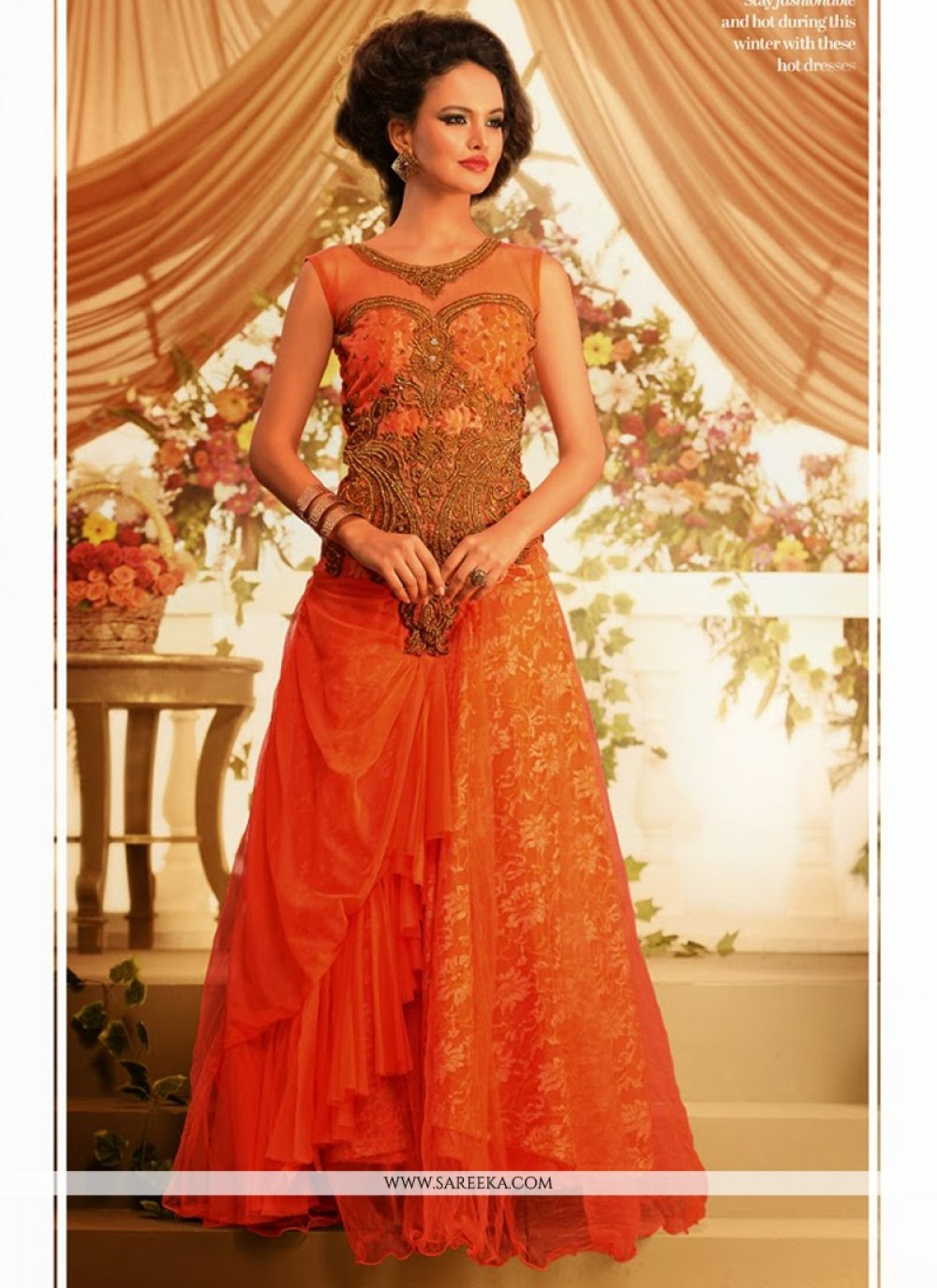 Orange Net Designer Gown