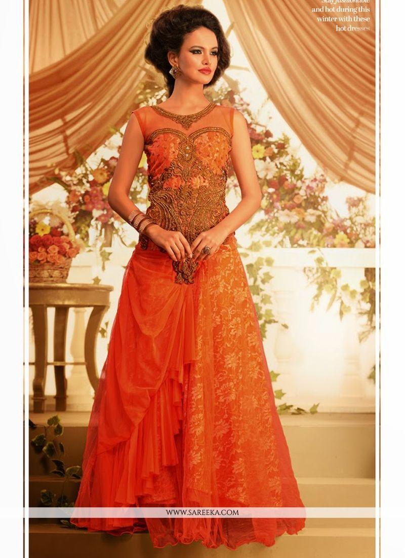Orange Net Designer Gown