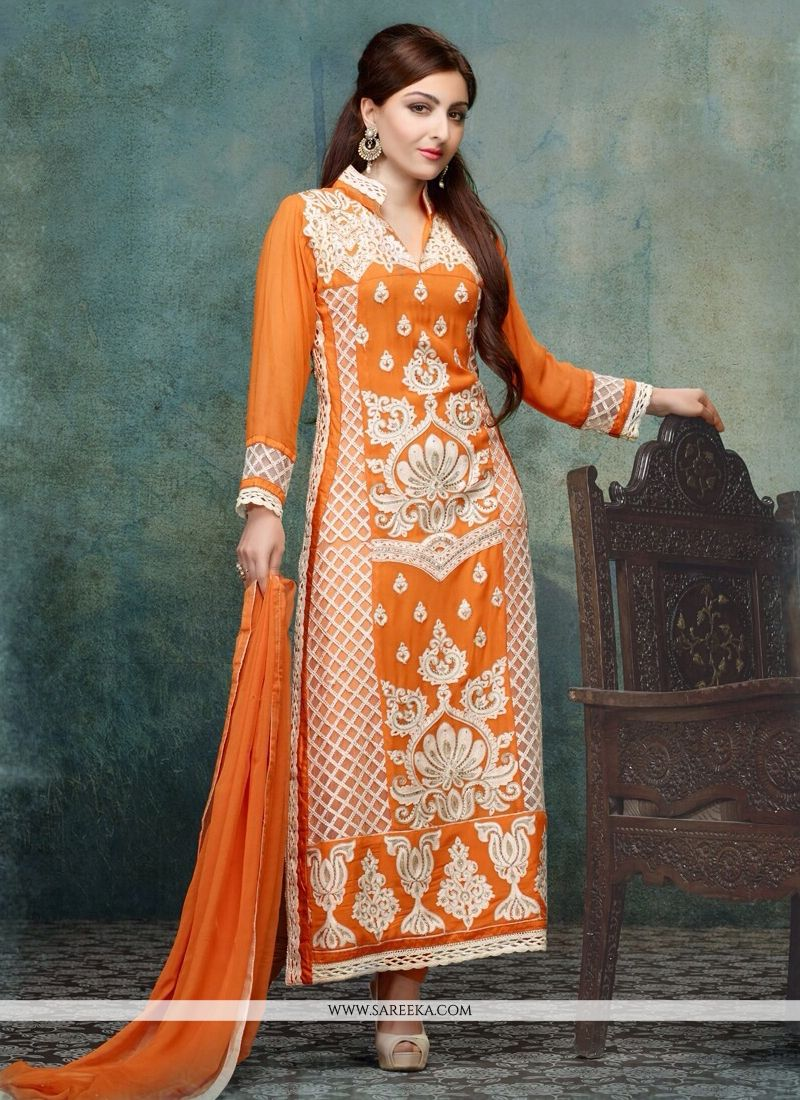 Soha Ali Khan Orange Resham Work Churidar Suit