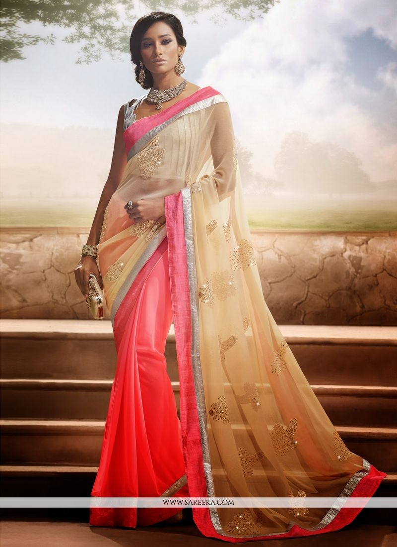 Pink And Cream Georgette Designer Saree