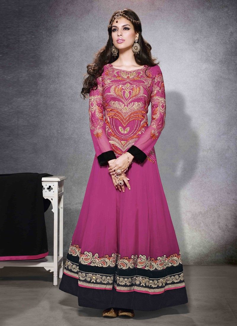 Ayesha Takia Pink Embroidery Work Faux Georgette Anarkali Suit
