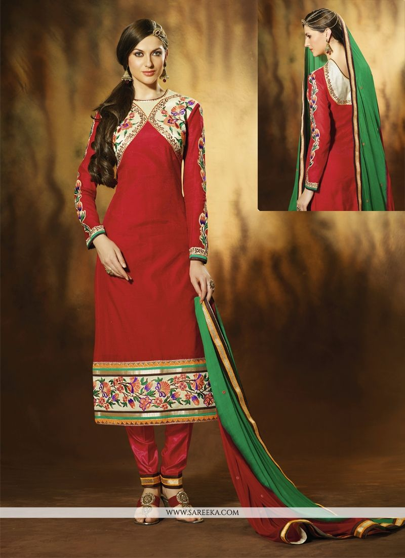Red Art Silk Pant Style Salwar Suit