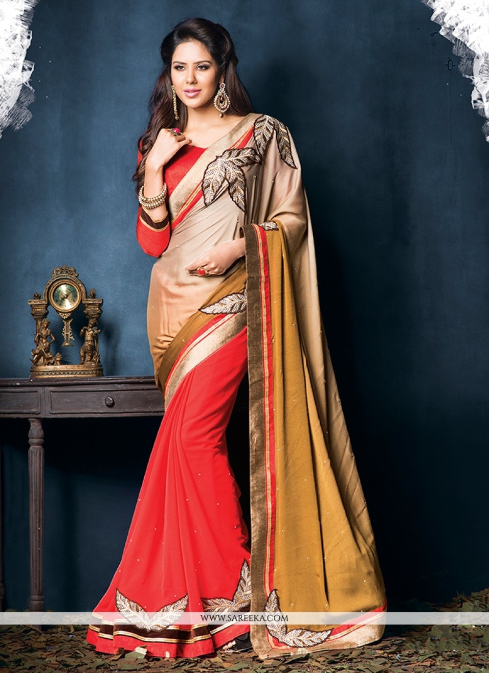 Red Crepe And Georgette Casual Saree