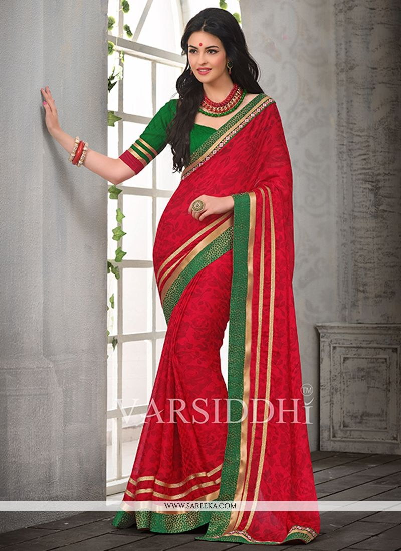 Red Printed Casual Saree