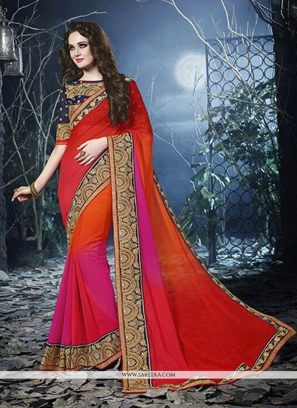 Red Shaded Chiffon Party Wear Saree