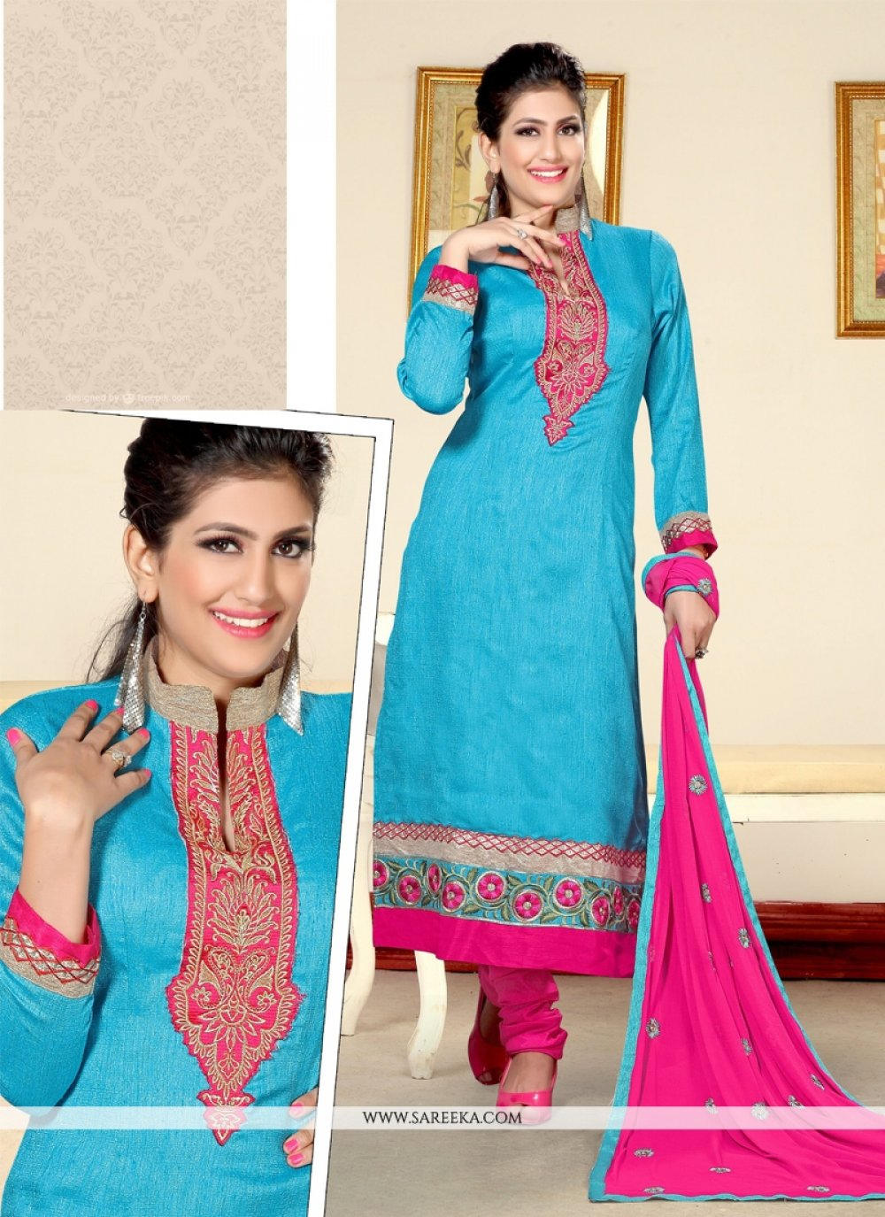 Turquoise Resham Work Jute Silk Designer Straight Salwar Kameez