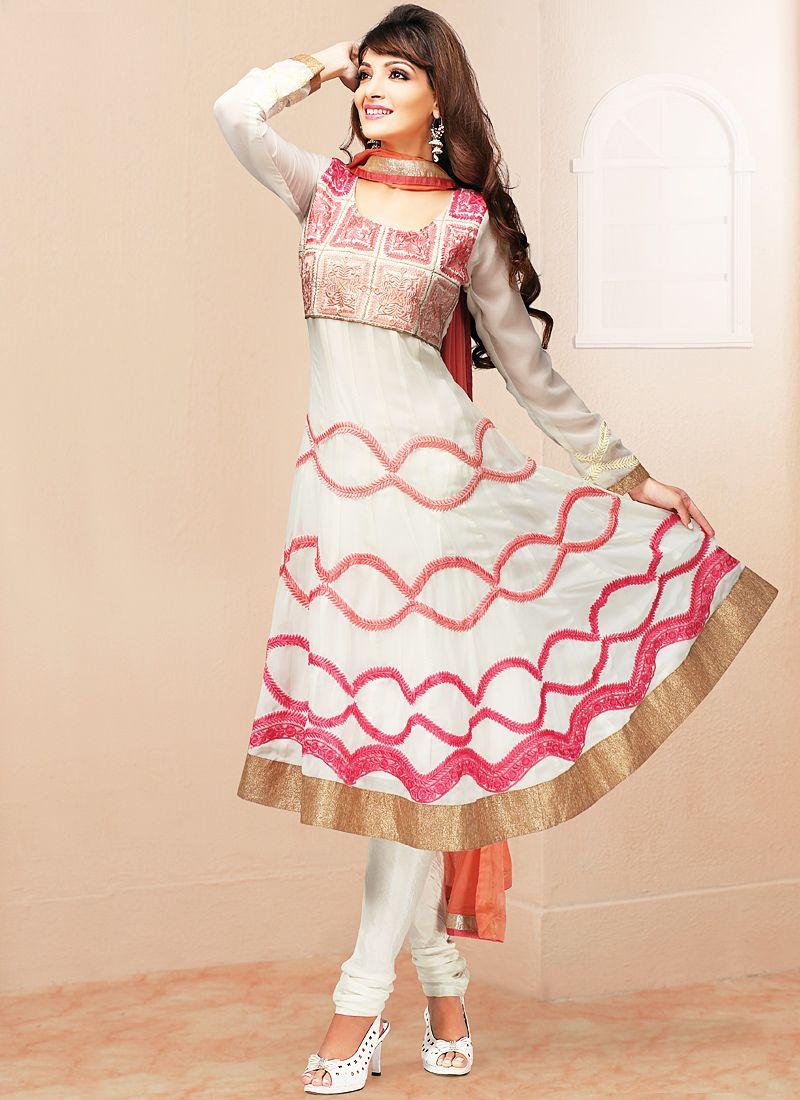 White Patch Border Work Anarkali Salwar Suit