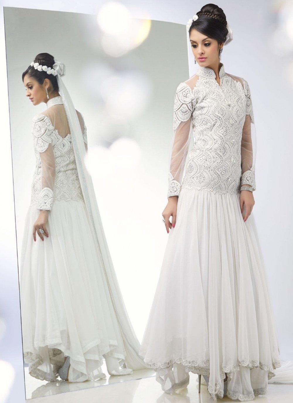 White Stone Work Net Wedding Wear Anarkali Suit