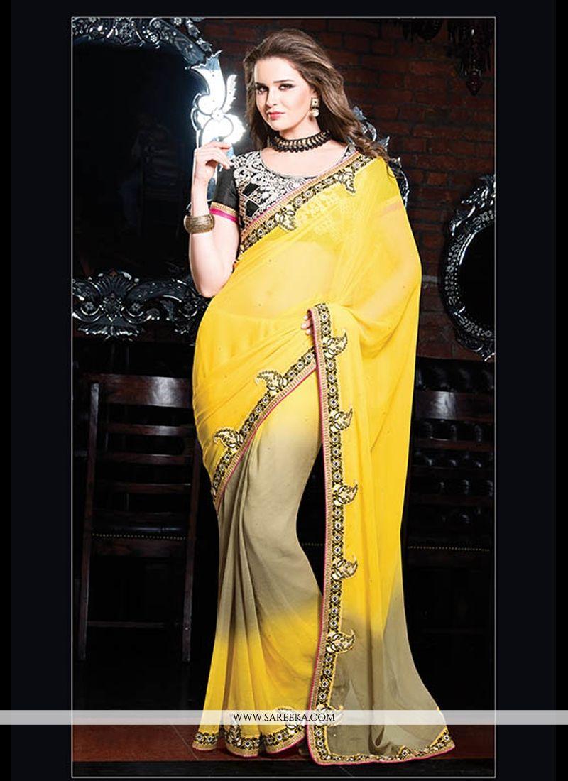 Yellow Chiffon Designer Saree