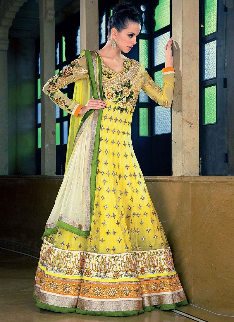 Yellow Zari Work Net Anarkali Suit