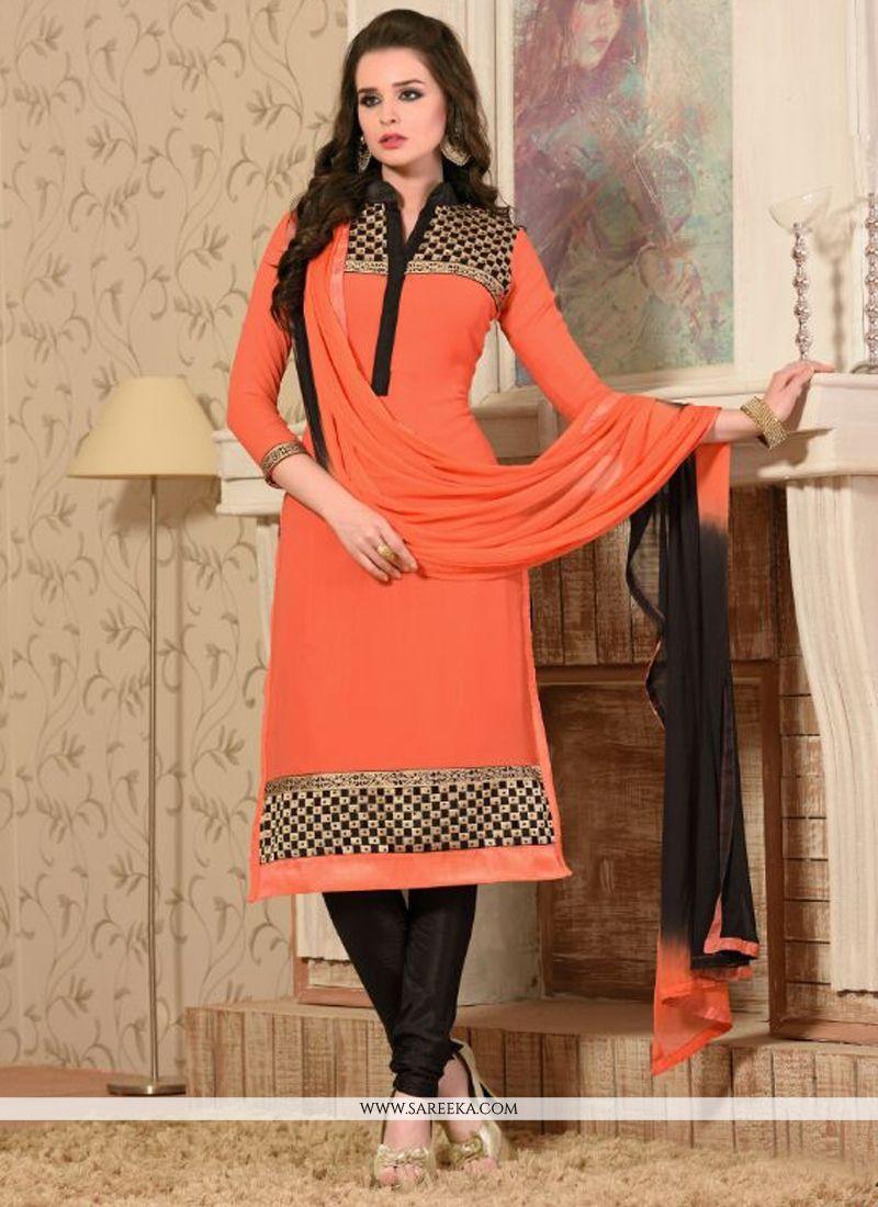 Zari Work Georgette Orange Churidar Salwar Suit