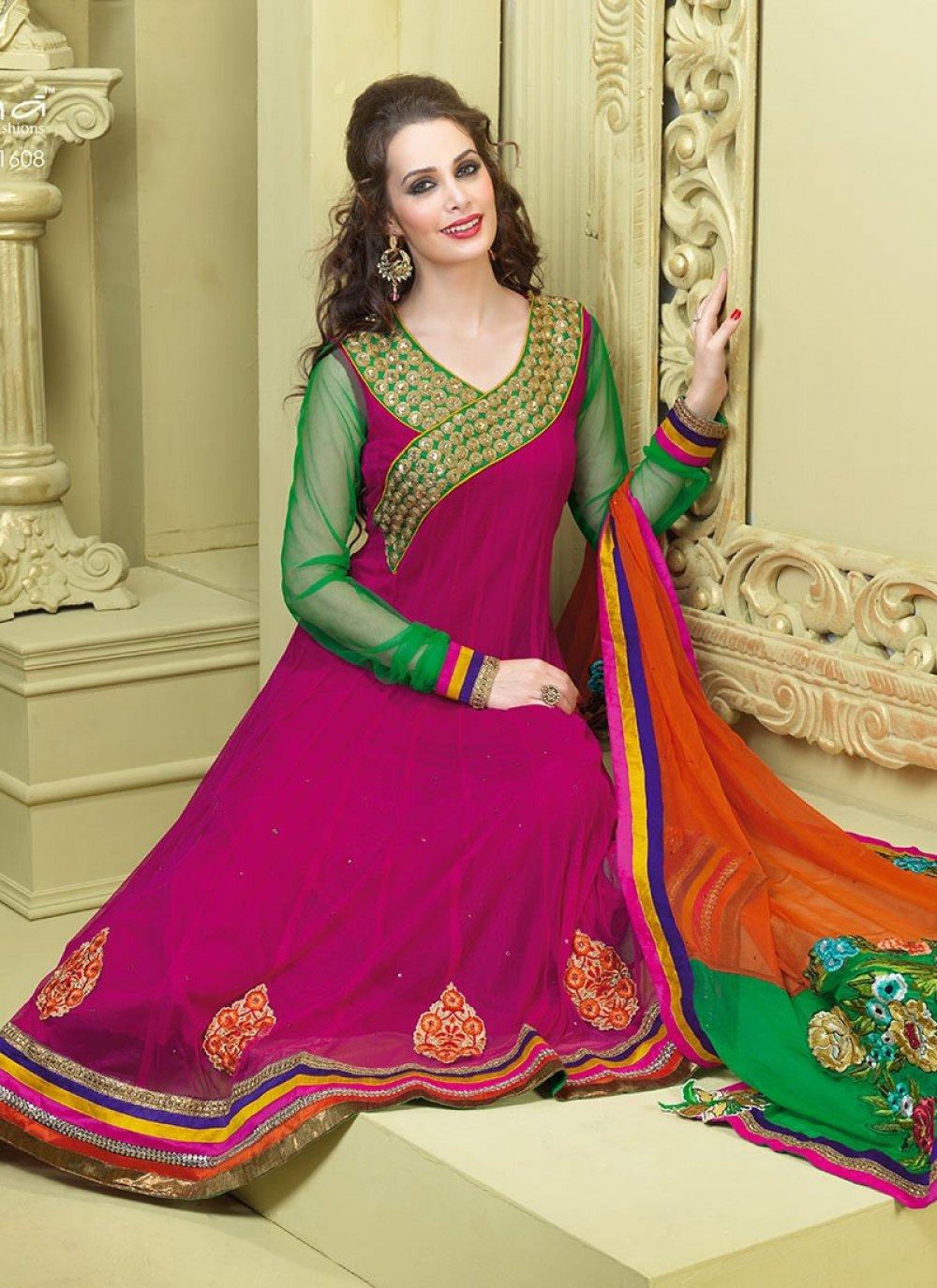 Splendorous Aloe Vera Green & Deep Pink Salwar Kameez