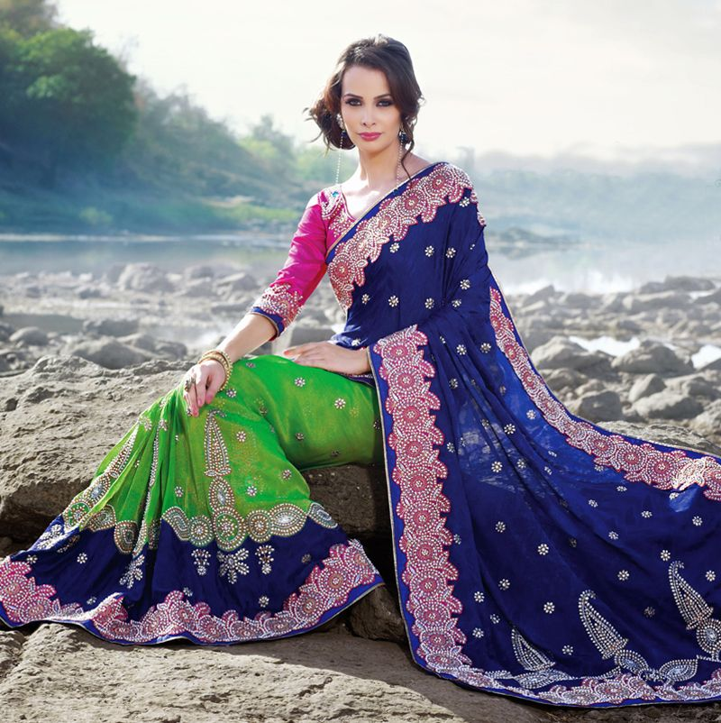 Splendorous Aloe Vera Green & Navy Blue Embroidered Saree