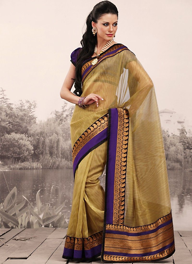 Splendorous Bige Brown Embroidered Saree