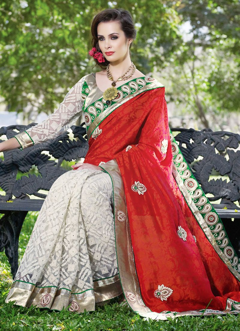 Splendorous Brick Red & White Embroidered Saree
