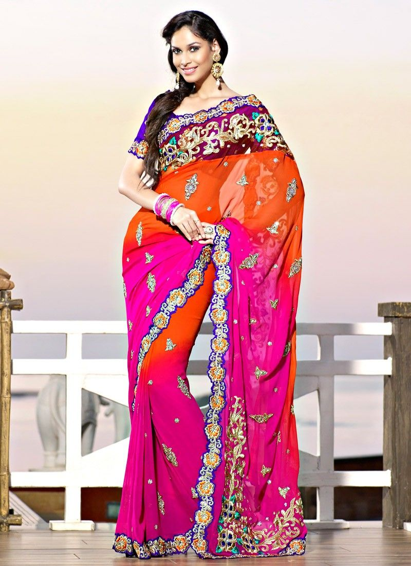 Splendorous Coral & Pink Embroidered Saree