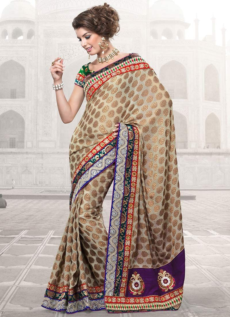 Splendorous Dark Beige Art Viscose Saree