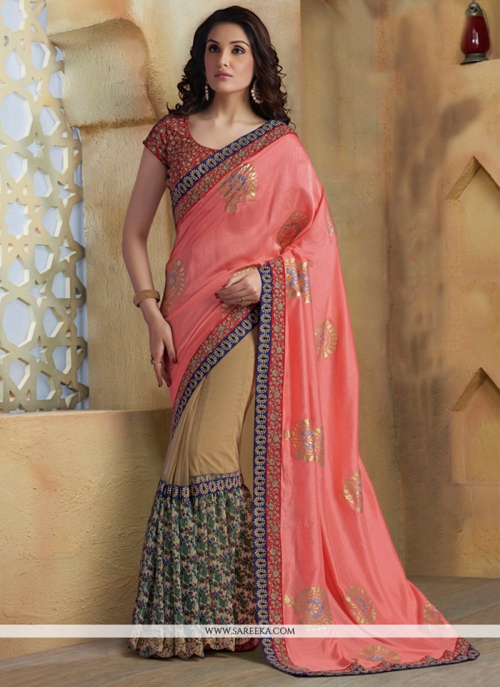 Chiffon Satin Pink Resham Work Designer Saree