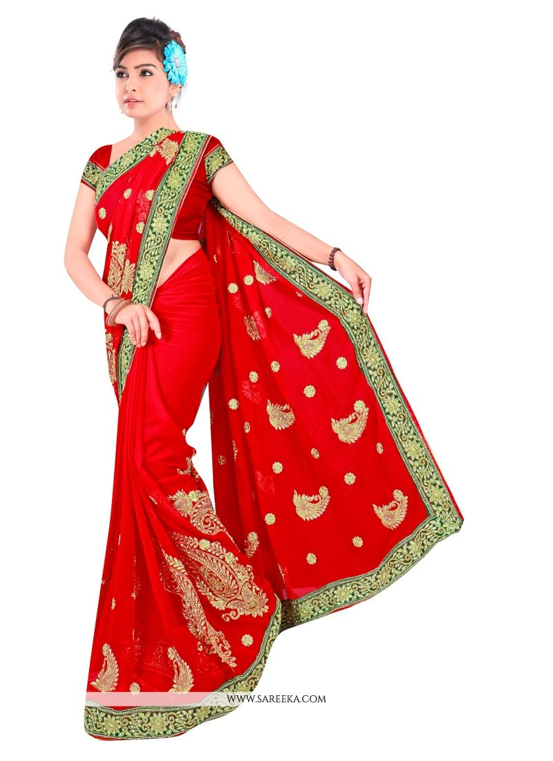 Georgette Patch Border Work Designer Contemporary Saree