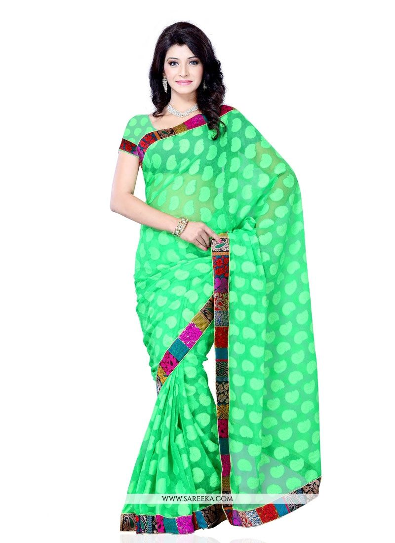 Patch Border Work Sea Green Designer Saree