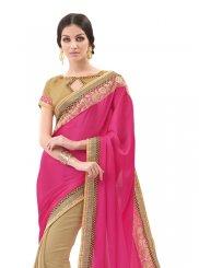Hot Pink Embroidered Work Chiffon Satin Designer Saree