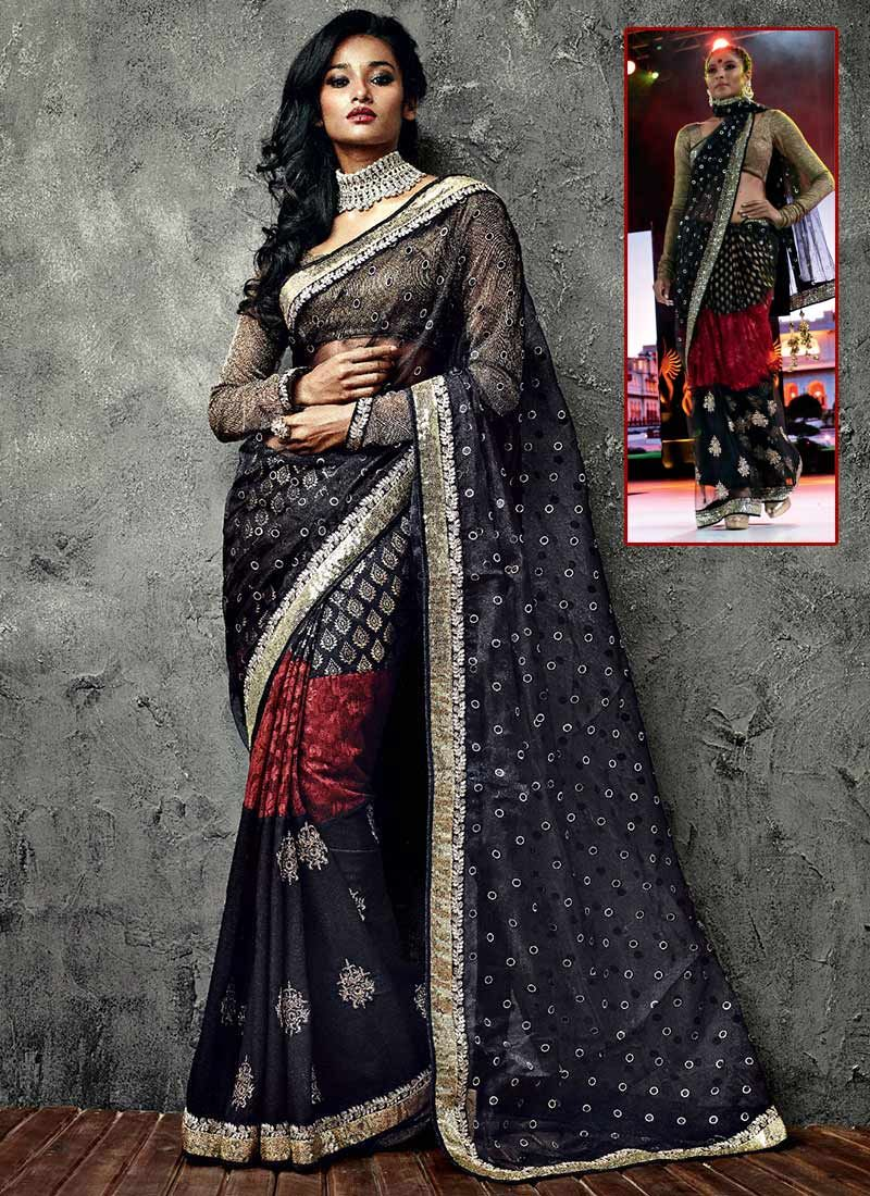 Startling Black Net IIFA Enhanced Border Saree